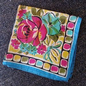 1950s Silk Scarf Mens Pocket Square MCM Design